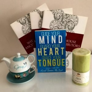 "Grand Prize: A copy of Guide Your Mind, Guard Your Heart, Grace Your Tongue, ""Grace"" teapot from Christian Arts Gifts, Whitaker House/Anchor adult coloring book. 1st Place: A copy of Guide Your Mind, Guard Your Heart, Grace Your Tongue, Abba Jerusalem 6"" Scented Pillar Candle 2nd Place: A copy of Guide Your Mind, Guard Your Heart, Grace Your Tongue, and Whitaker House/Anchor adult coloring book."